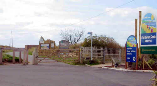 Entrance to Presthaven Sands holiday park with cycle path