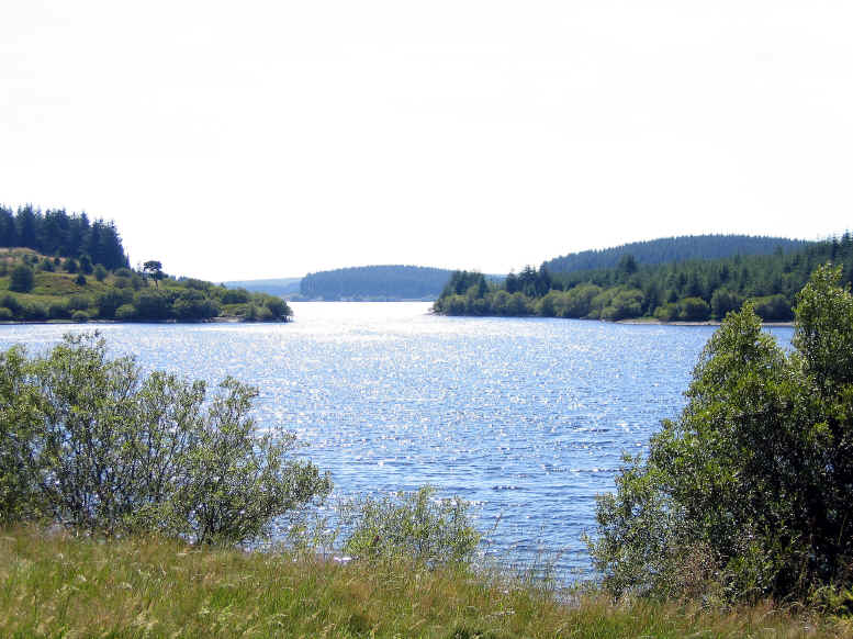 Looking along the length of Llyn Alwen