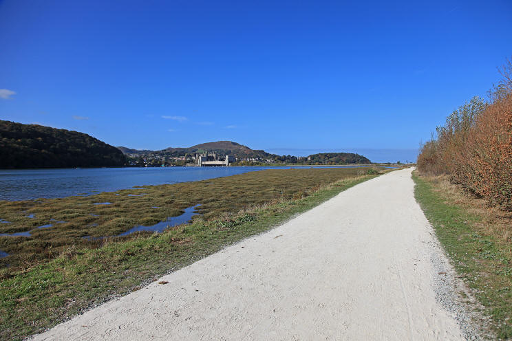 Photo of cycle path along the bank of the river Conwy