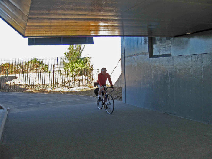 Photo of cycle path underpass at Conwy Cob