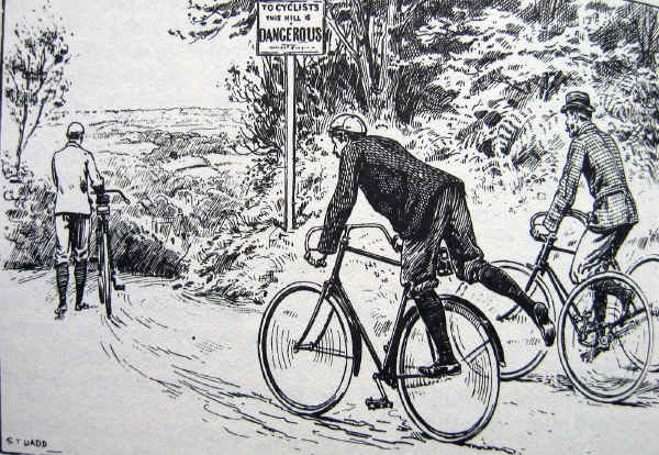Cartoon of Edwardian cyclists dismounting when they see a sign saying,'To cyclists: this hill is dangerous'