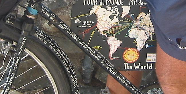 Heinz Stucke's bike frame covered with the names of places he has visited