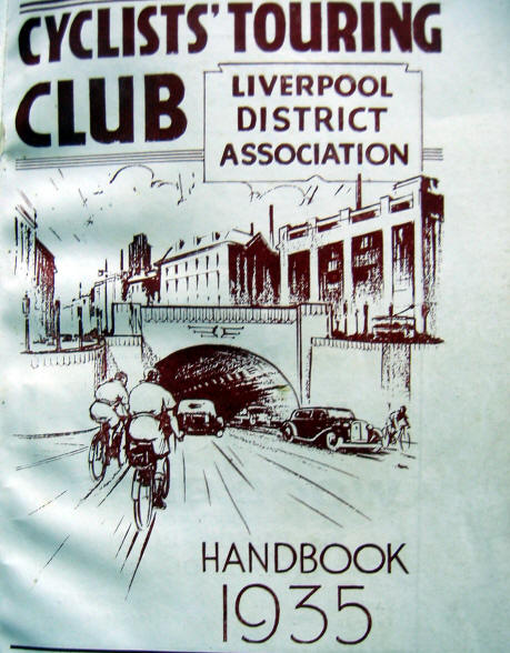 Front cover of Cyclists' Touring Club, Liverpool district Association 1935 handbook. It shows a drawing of cyclists entering the Mersey tunnel