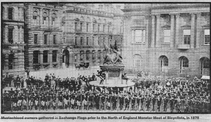 Photo of long line of Penny-farthing owners in central Liverpool before the cycle to the North of England Monster Meet of Bicyclists in 1878