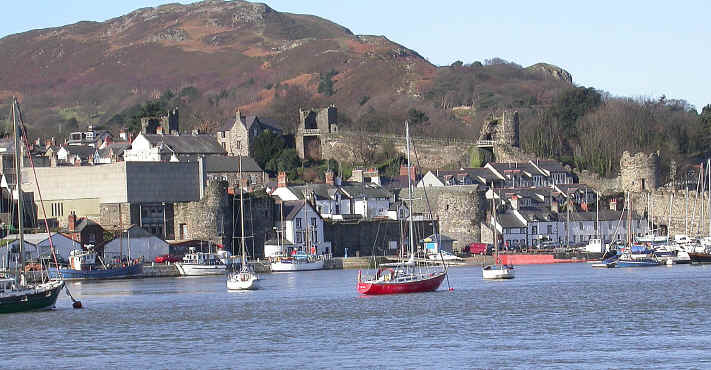 Conwy quay and town walls seen from the cob