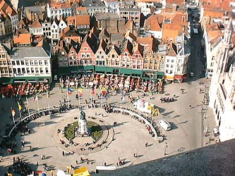 Aerial view of central Bruges