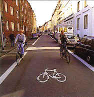 Dutch street with priority for cyclists