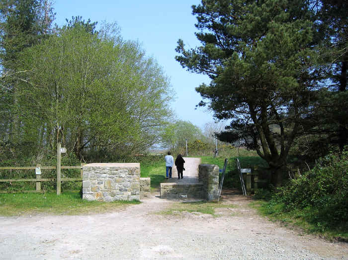 Start of Lon Cefni cycle path at Newborough Forest
