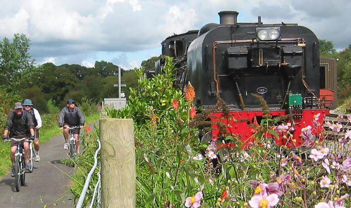 Photo of a steam engine passing a group of cyclists on Lon Eifion cycle path
