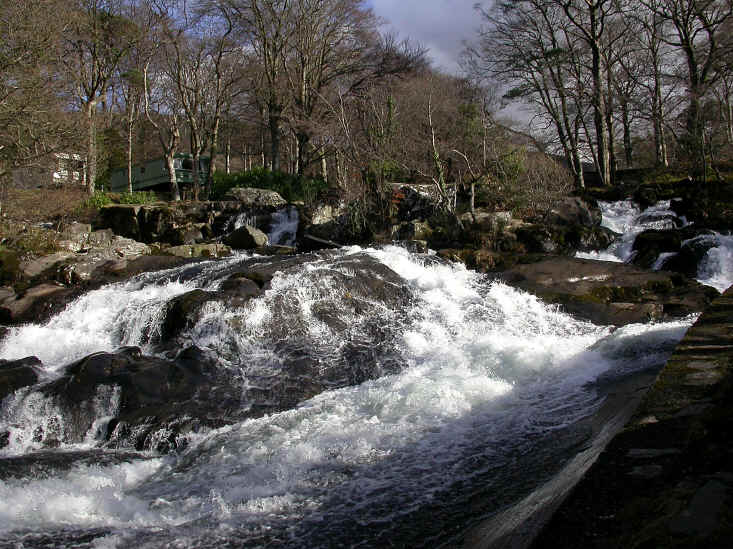 The waterfall cascades at Ogwen Bank