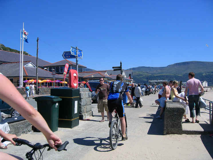 Cycles on Barmouth promenade in summer