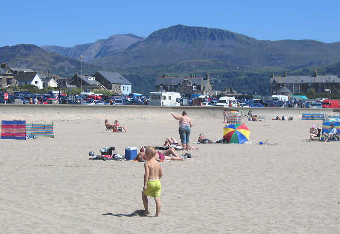 Barmouth beach with Cadair Idris in the background