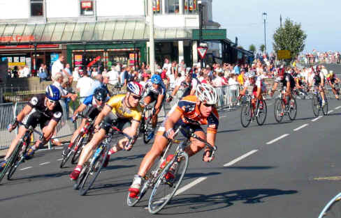 Cyclists taking a bend in the National Circuit Championships