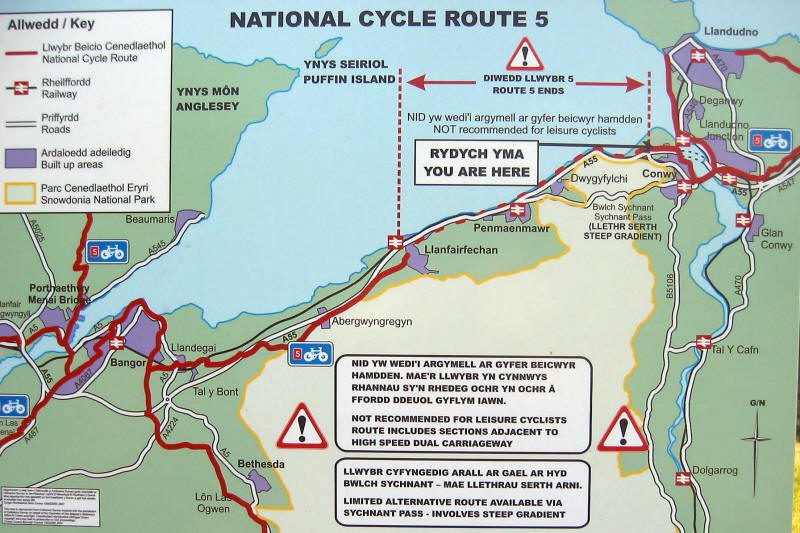 Photo of sign put up adjacent to NCR 5 saying the Conwy - Llanfairfechan section is not suitable for leisure cyclists
