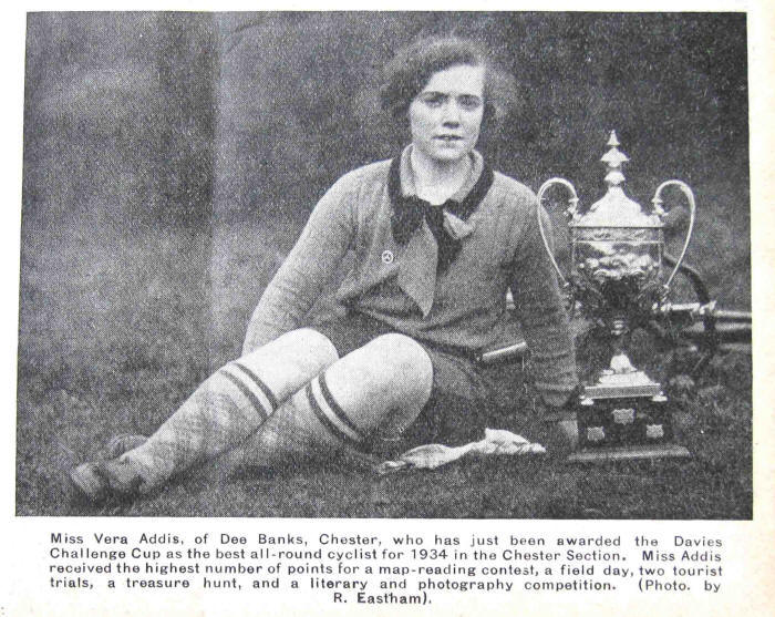 1934 Photo of young lady after she had been awarded a cup as the best all round cyclist