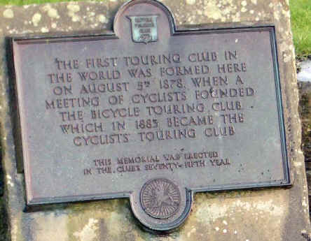 Plaque in Harrogate commemorating the centenary of the founding of CTC