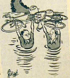 Cartoon of cyclists in a flood holding their bikes above their heads