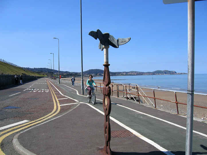 ornamental signpost at start of Colwyn prom cycleway