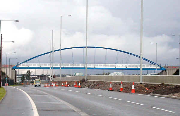 View of the cycle bridge at Drome Corner Spanning the A55 carriageway