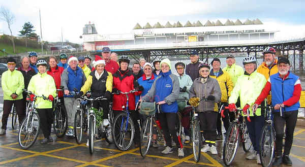 Colwyn group of cyclists at Colwyn pier before setting off to Abergele for Christmas lunch