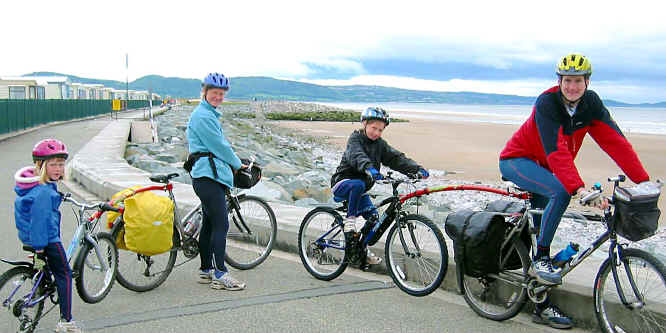 Gooda family of Tarvin on their touring bikes en route to the Lleyn peninsula
