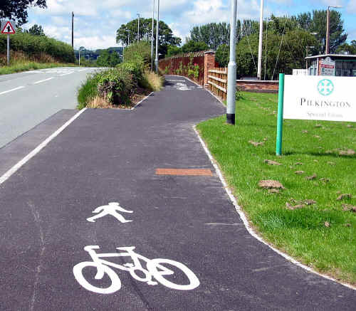 cyclepath near the entrance to Pilkington's factory at St Asaph, Denbighshire