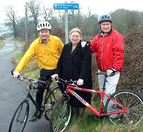 Three Welsh politicians on a cycle path