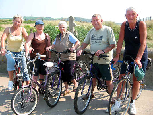 Group of mature cyclists