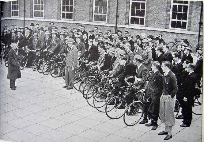 Large group of about 70 cyclists assemble as volunteer Air Raid Precaution messengers as part of Liverpool CTC's war effort during World War 2