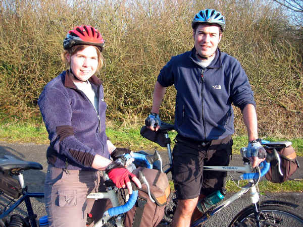 Husband and wife professional members of CTC on Lon Eifion cycle path