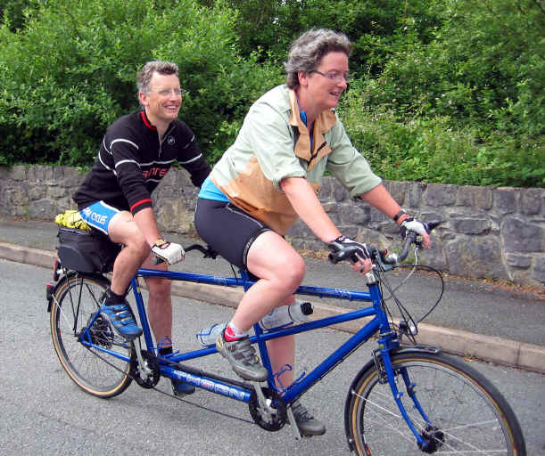 Paula and Gwyn Roberts on a Thorn tandem. As Gwyn suffers from an eye condition, macular distrophy, Paula is riding at the front