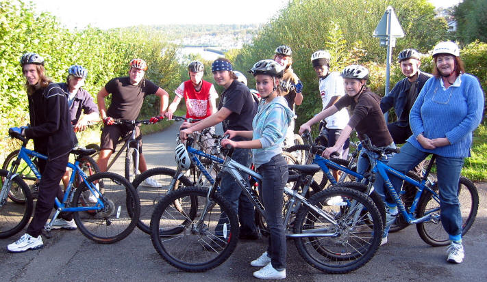 Group from Plas Menai Water sports centre on Lon Menai cycleway
