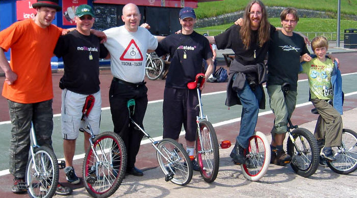Group of monocyclists visiting Colwyn Bay
