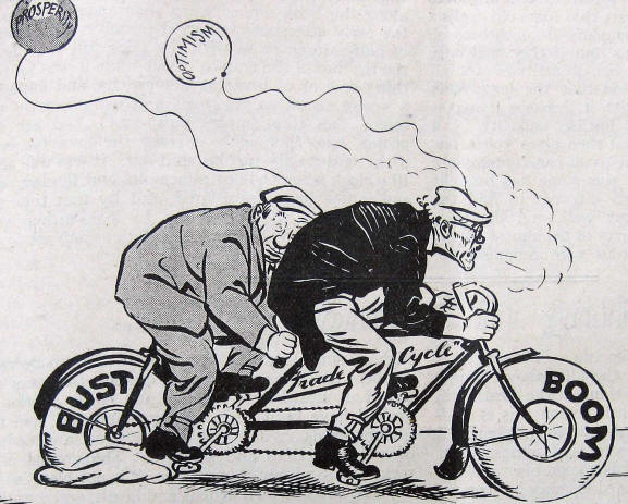 Low cartoon from 1935 showing prime minister MacDonald and Stanley Baldwin riding a tandem called Trade Cycle and with rear tyre, called Bust, going bust