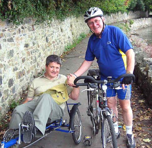 Paul with Don Spilsbury on cycleway at Conwy