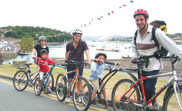 Dr David McKee and family of Buxton with bikes at Conwy