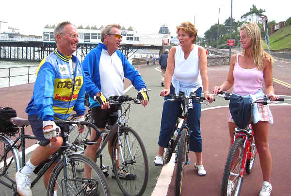 Two male members of CTC meet a couple of ladies on the cycleway on Colwyn prom