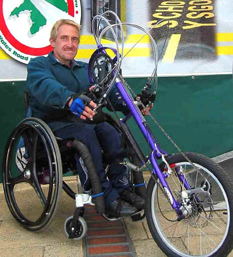 Overcoming disability: Jason Roberts of Prestatyn with his new Da Vince hand propelled trike