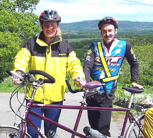 Overcoming disability: Sandra and David Price of Mochdre with their tandem. David is gradually losing his sight.