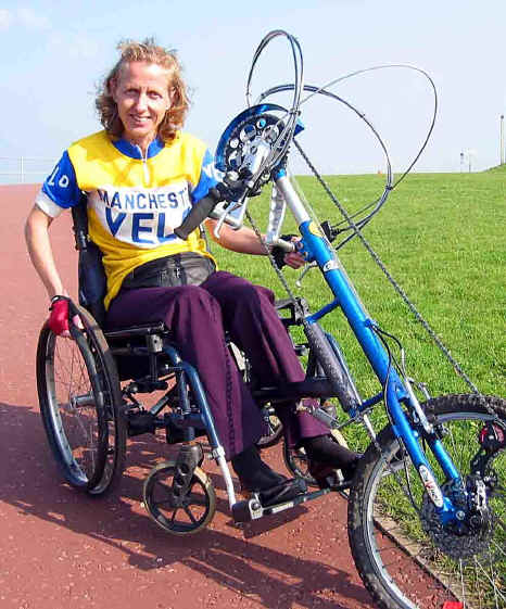 Overcoming disability: Helen Jones with her hand propelled Da Vinci cycle