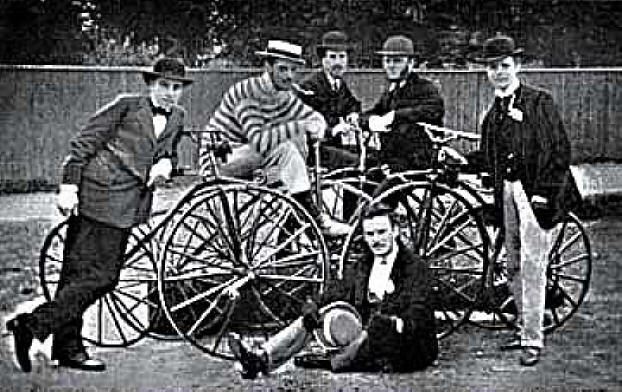 Photo of 6 of the original members of The Pickwick Bicycle Club in 1870 with their high wheel bicycles