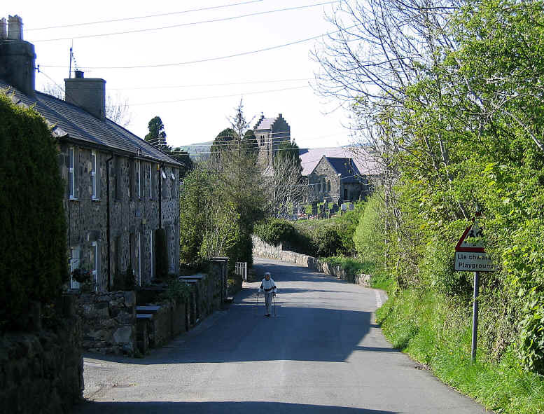 Llannor village with its curious church tower