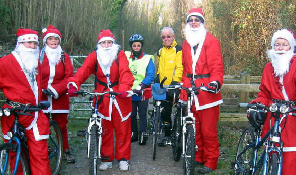 The cycling santas on the Prestatyn to Dyserth cycle path