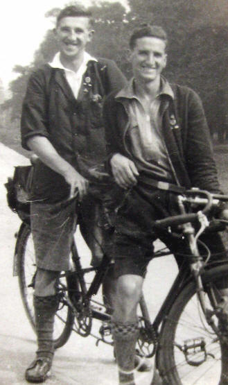 Photo of Owen Joshua Smith and Fred Edwards on tricycle