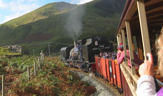 Welsh Highland  Railway heading into Snowdonai