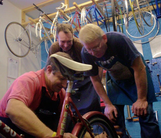 Dewi Jones in his cycle workshop at Salem